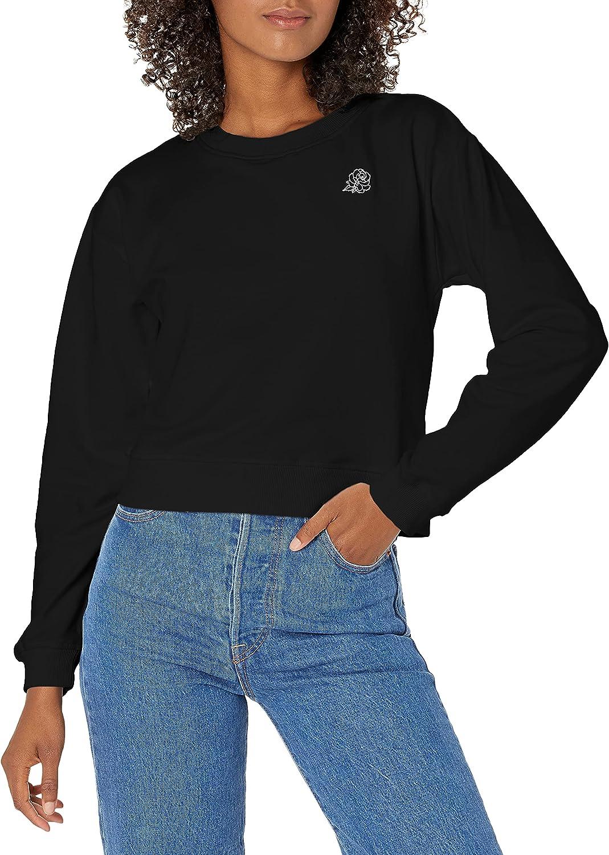 BB DAKOTA Women's So It Rose Brushed Back French Terry Embroidered Sweatshirt