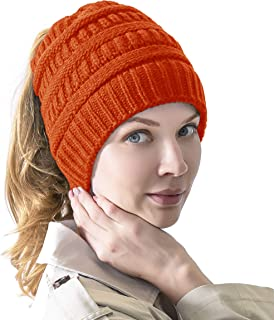 Women's Knitted Messy Bun Hat Ponytail Beanie Baggy Chunky Stretch Slouchy Winter
