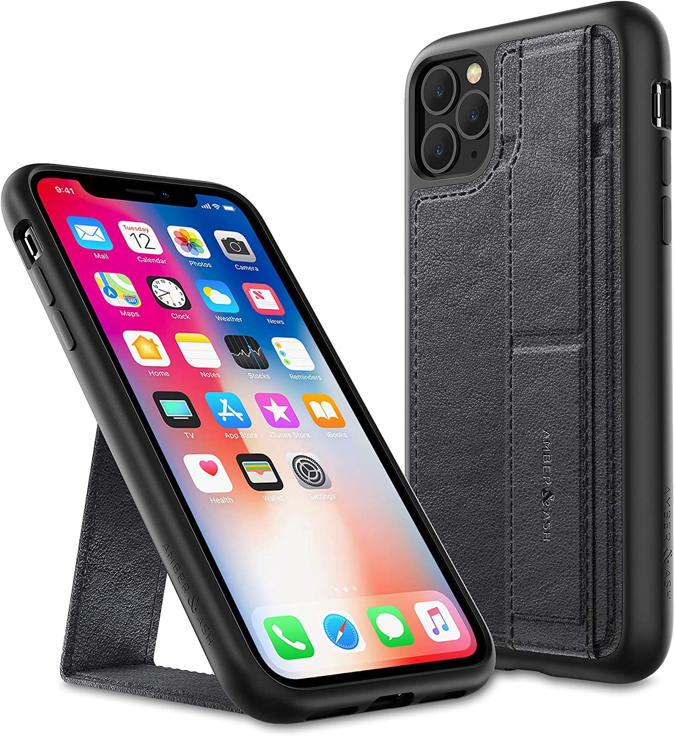 Amber & Ash Strap Stand Case for iPhone 11 Pro (5.8in) - Vertical and Horizontal Kickstand - Hand Grip - Reinforced Drop Protection - Flexible TPU - Matte Black