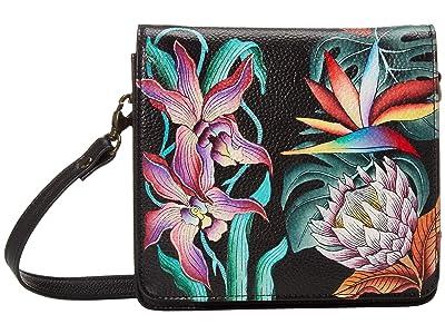 Anuschka Handbags Small Messenger 669 (Island Escape Black) Handbags
