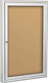 BestRite 2 x 1.5 Feet Outdoor Enclosed Bulletin Board Cabinet, Natural Cork (94PSA-O-01)