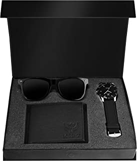LORENZ Combo of Black Men's Wallet, Sunglasses & Watch | Choose Any one | Brown Wallet, Army Design Wallet, Blue Wallet or Black Wallet