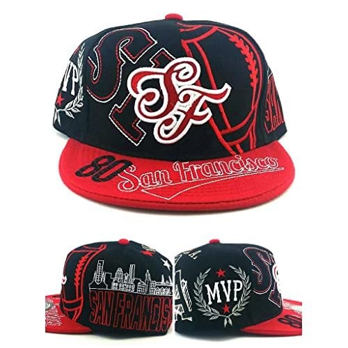 6c11c53e8e037 San Francisco SF New Leader Top MVP 80 Rice 49ers Colors Black Red Era  Snapback Hat