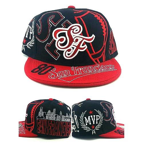 e82027286e3ebc San Francisco SF New Leader Top MVP 80 Rice 49ers Colors Black Red Era  Snapback Hat