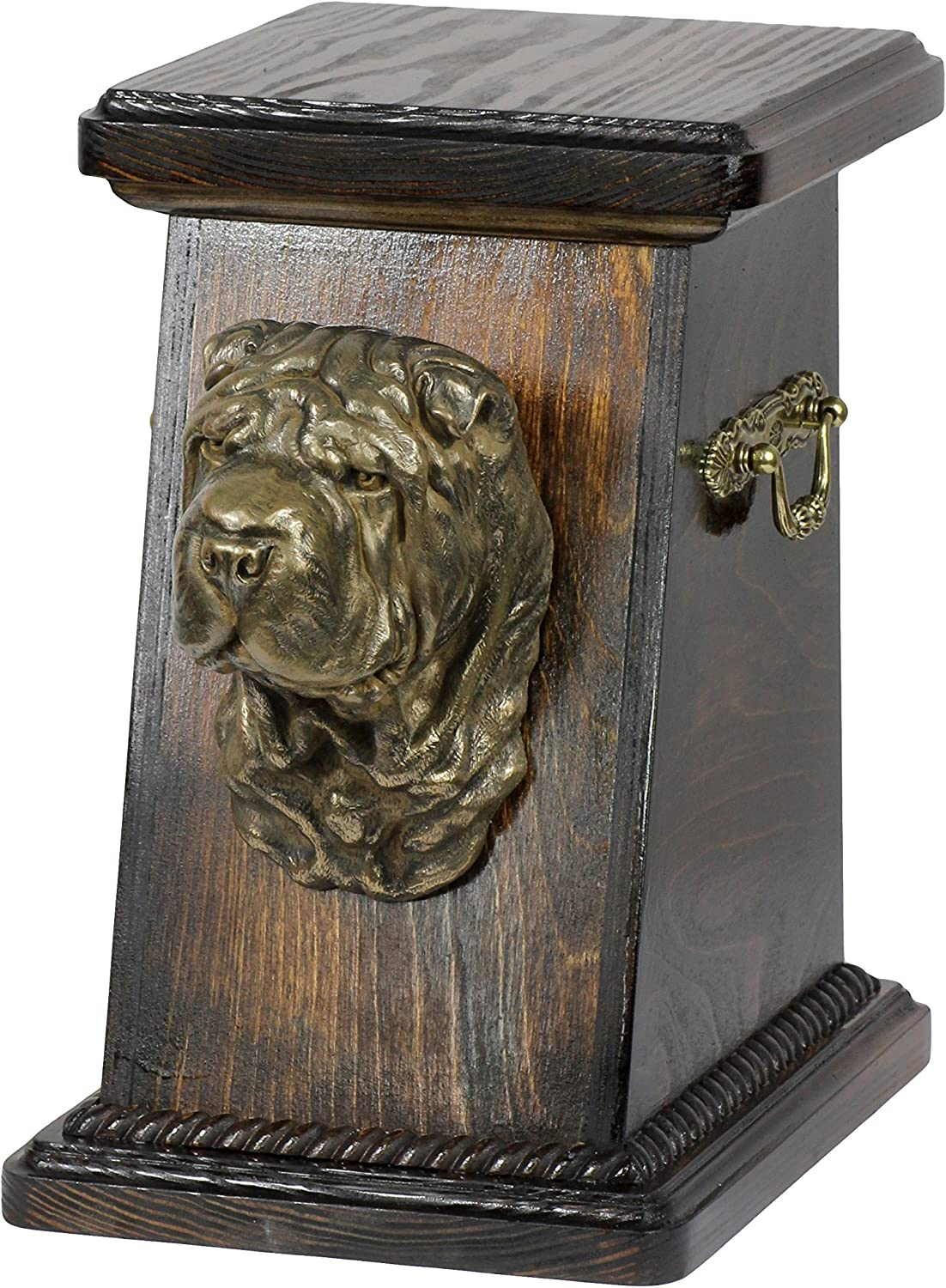 Shar Pei, memorial, urn for dog's ashes, with dog statue, ArtDog