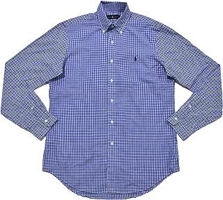 Men's Plaid Poplin Sport Shirt (Blue Navy Checks Navy Pony)