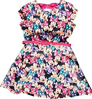 Disney Minnie Mouse Girls Scuba Skater Dress w/Belt and Bow in The Back