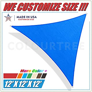 ColourTree 12' x 12' x12' Sun Shade Sail Triangle Blue Canopy Awning Shelter Fabric Cloth Screen – UV Block UV & Water Resistant Heavy Duty Commercial Grade – Outdoor Patio Garden Carport Window