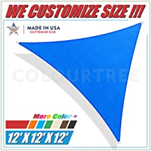 ColourTree 12' x 12' x 12' Blue Sun Shade Sail Triangle Canopy Awning Shelter Fabric Cloth Screen - UV Block UV Resistant Heavy Duty Commercial Grade - Outdoor Patio Carport - (We Make Custom Size)