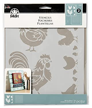 "FolkArt Chicken Coop, 8.5 x 9.5-Inch Coordinating Stencils (Pack of 2), 8.5"" x 9.5"", 3 Count"