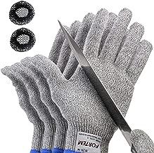 FORTEM Cut Resistant Gloves, 4 Gloves, Level 5 Protection, Food Grade, EN388 Certified (Large 2 Pair)