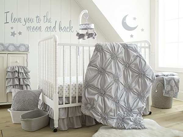 Levtex Home Baby Willow 5 Piece Crib Bedding Set Grey