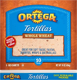 Ortega Tortillas, Whole Wheat, 8 Inch, 10 Count (Pack of 12)