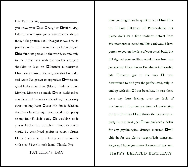 Quiplip Funny Lückentext Vater 's Day und Verspätete Geburtstag Karten, 6er Pack (ql08326pck) B077VR32MX | Quality First