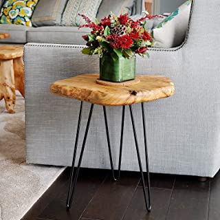 NBWOOD Natural Edge Side Table, Live Edge End Table with 3 Hairpin Legs, Nightstand Plant Stand for Bedroom and Living Room(15.5