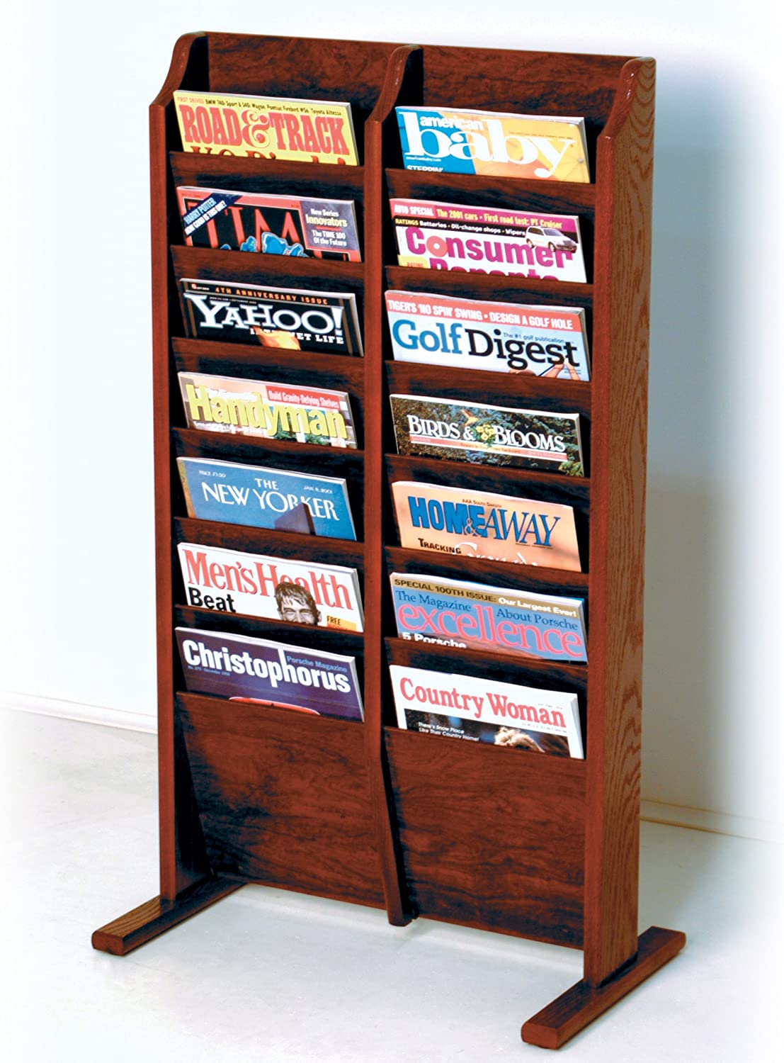 Wooden Mallet 14 Pocket Cascade Free Standing Magazine Rack Mahogany Home Kitchen