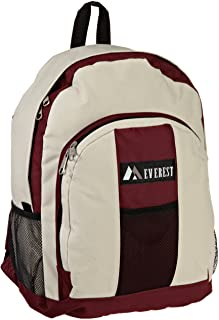 Everest Luggage Backpack with Front and Side Pockets, Burgundy/Beige, Large