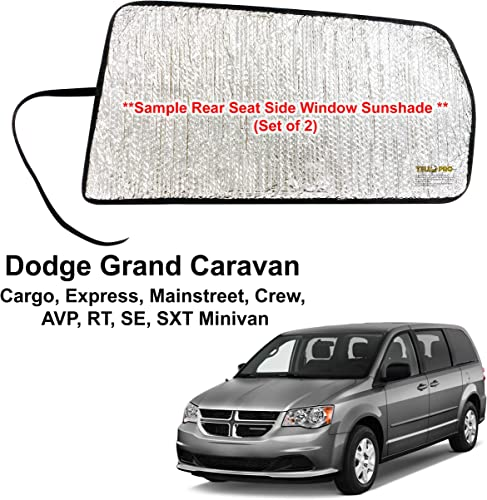 high quality Side Window Rear Seat Sunshade Custom Fit for 2011 2012 2013 2014 high quality 2015 2016 2017 2018 2019 2020 Dodge Grand Caravan Minivan, UV lowest Sun Protection Accessories (2pcs) - Made in USA outlet sale