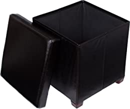 BIRDROCK HOME Faux Leather Folding Storage Ottoman with Legs- 16 x 16 - Strong and Sturdy - Quick and Easy Assembly - Foot Stool - Black
