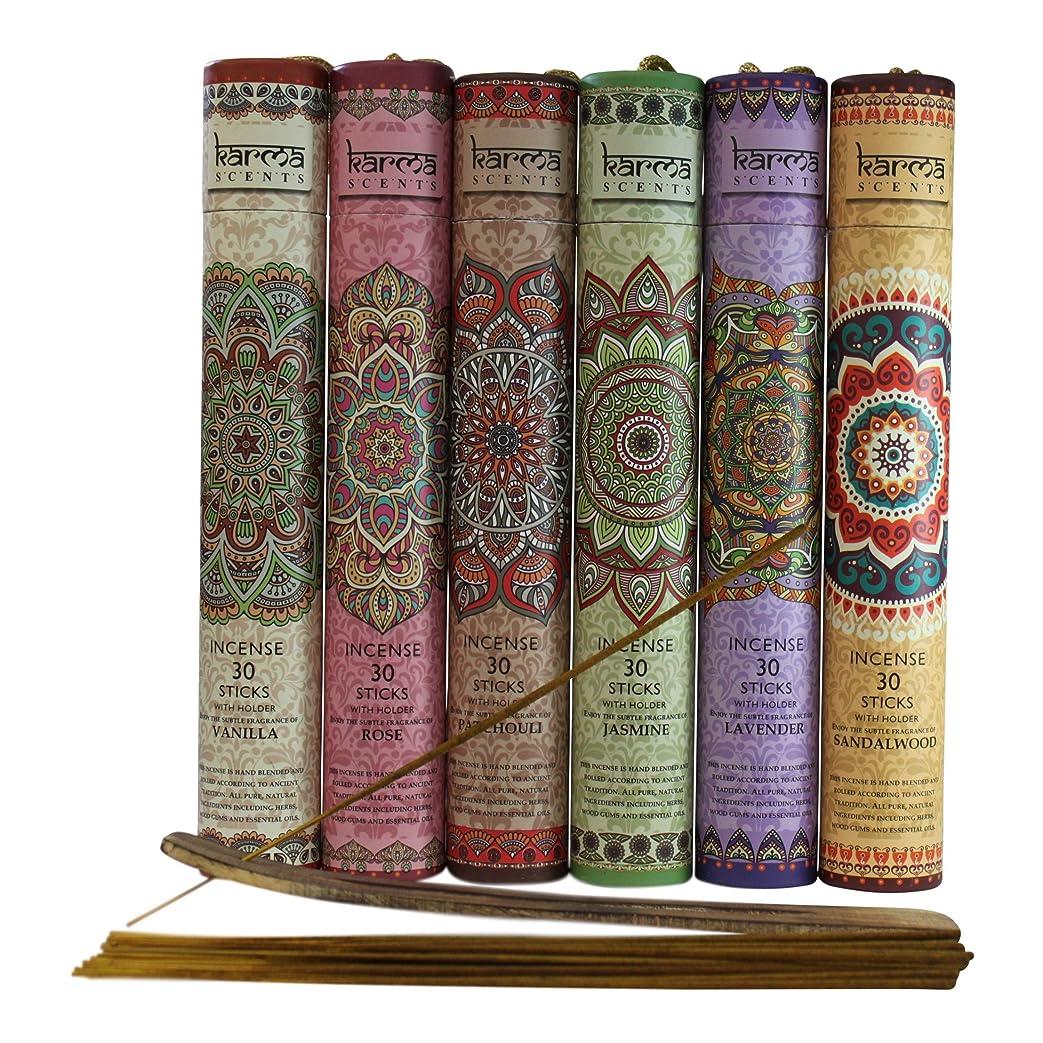 グロー市民権つぶやきPremium Incense Sticks, Lavender, Sandalwood, Jasmine, Patchouli, Rose, Vanilla, Variety Gift Pack 180 Stciks Includes a Holder in Each Box