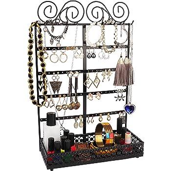 BELLE VOUS Présentoir à Bijoux - (26x40x12cm) Porte-Bijoux en Métal Noir avec 10 Crochets, 80 Trous et Support Rectangulaire - Mural Organisateur De Bijoux pour Colliers, Boucles d'Oreilles