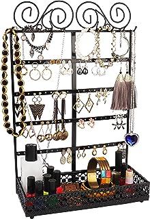 Présentoir à Bijoux - (26x40x12cm) Porte-Bijoux en Métal avec 10 Crochets, 80 Trous et Support Rectangulaire - Mural Organ...