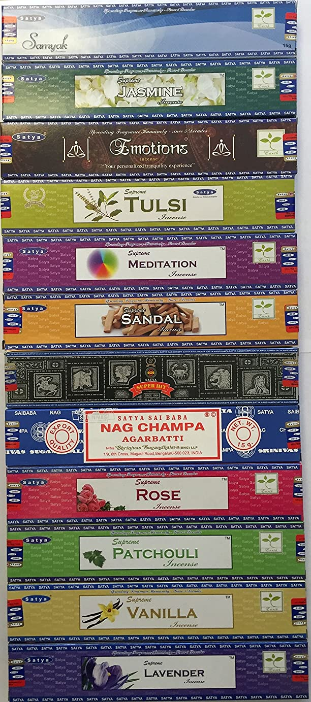 コマース息を切らして上回るSet of 12 Nag Champa Superhit Sandal Patchouli Jasmine Rose Lavender Samayak Emotions Tulasi Vanilla Meditation By Satya