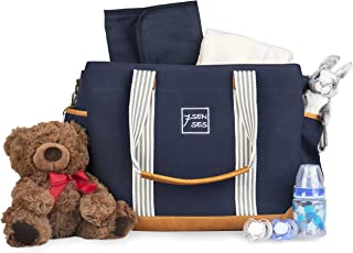 Diaper Bag for Girls and Boys - Large Capacity Baby Bag - Nappy Bag - Diaper Tote - Plus Changing Pad, Stroller Straps and 10 Pockets - Best Baby Shower Gift by 7Senses (Navy Blue)