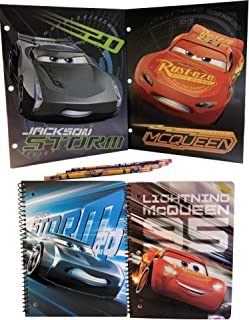 Disney Pixar Cars 3 School Supplies - 2 Folders, 2 Notebooks and 4 Pencils with Lightning McQueen and Jackson Storm