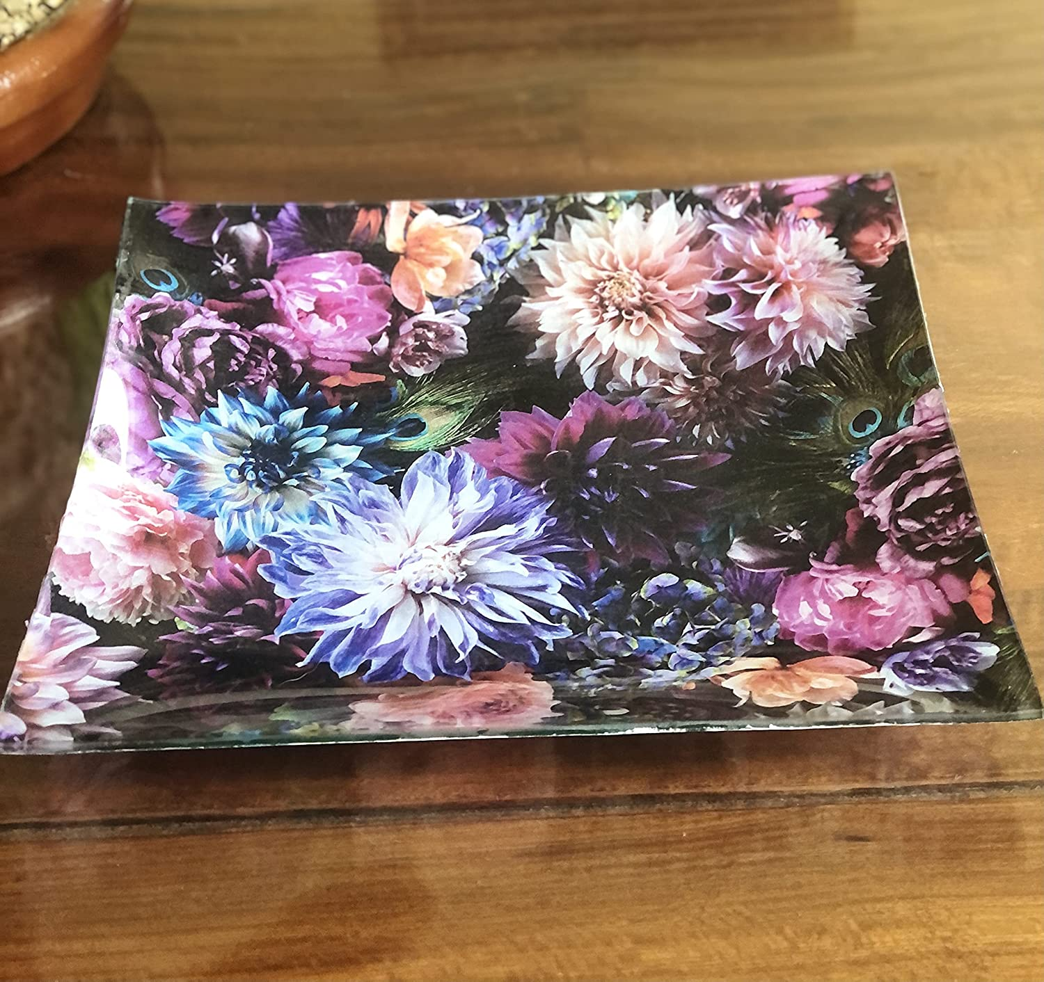 Max 54% OFF Hand Decoupage Floral Glass Bombing free shipping Serving Platter x12 -12 - Inch Decor