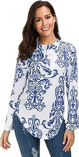 Afibi Womens Paisley Printed Long Sleeve Henley Pleated Flare Tunic Blouse Shirt