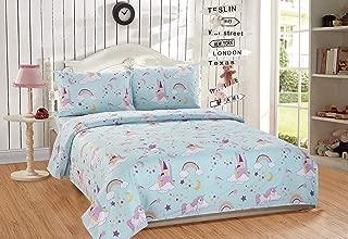 Linen Plus Queen Size 4pc Sheet Set for Girls/Teens Unicorn Rainbow Castle Blue Purple Yellow White New