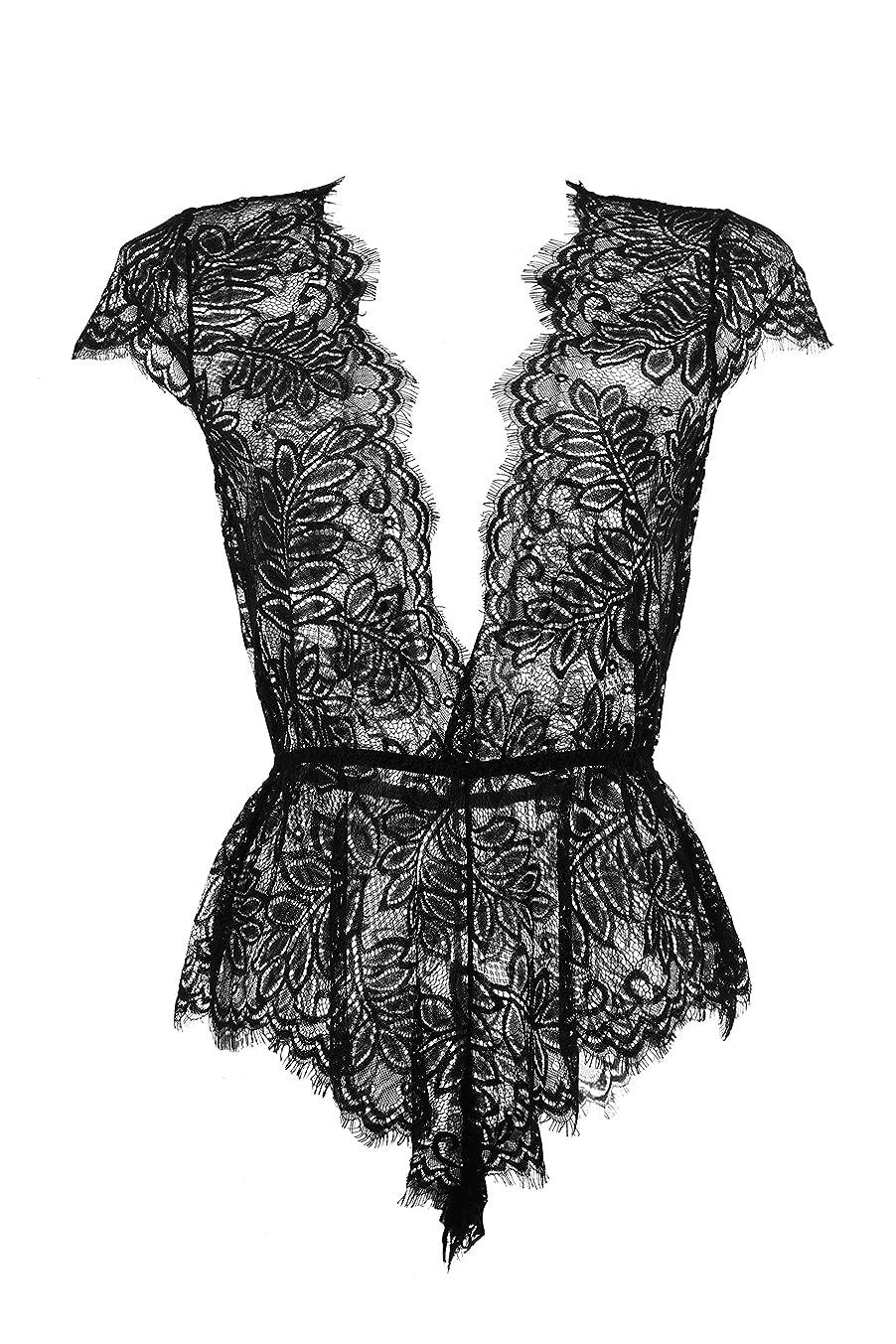 YosbuTi Women's Chemises & Negligees Lingerie V Neck Lace Babydoll Bodysuit S-XXL