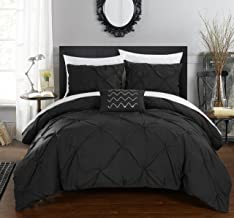 Chic Home 4 Piece Daya Pinch, Ruffled and Pleated Complete Queen Duvet Cover Set Black Shams and Decorative Pillows Included