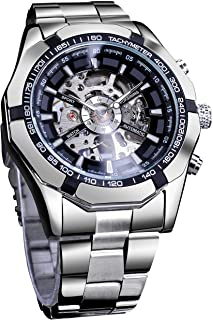 Forsining Mens Watches, Waterproof Steampunk Stainless Steel Mechanical Sport Skeleton Wrist Watch for Men Big Dial Design