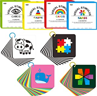 100 PCS 200 Page Black White Colorful 3D Visual Stimulation Learning Activity High Contrast Baby Flashcard for Newborn Bab...
