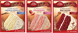 Betty Crocker THREE (3) Cake Bundle Super Moist French Vanilla Cake, Super Moist Red Velvet Cake, Super Moist Strawberry C...