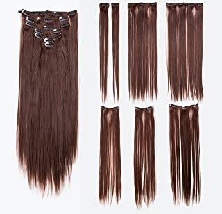SWACC Women 22 Inches Straight Full Head 7 Separate Pieces Heat Resistance Synthetic Hair Clip in Hair Extensions (Dark Auburn-33#)