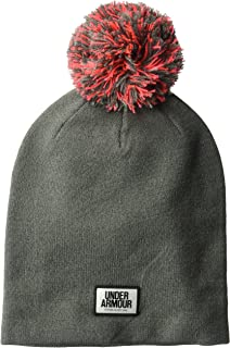 Under Armour Women's Graphic Pom Beanie, Carbon Heather (090)/Black, One Size