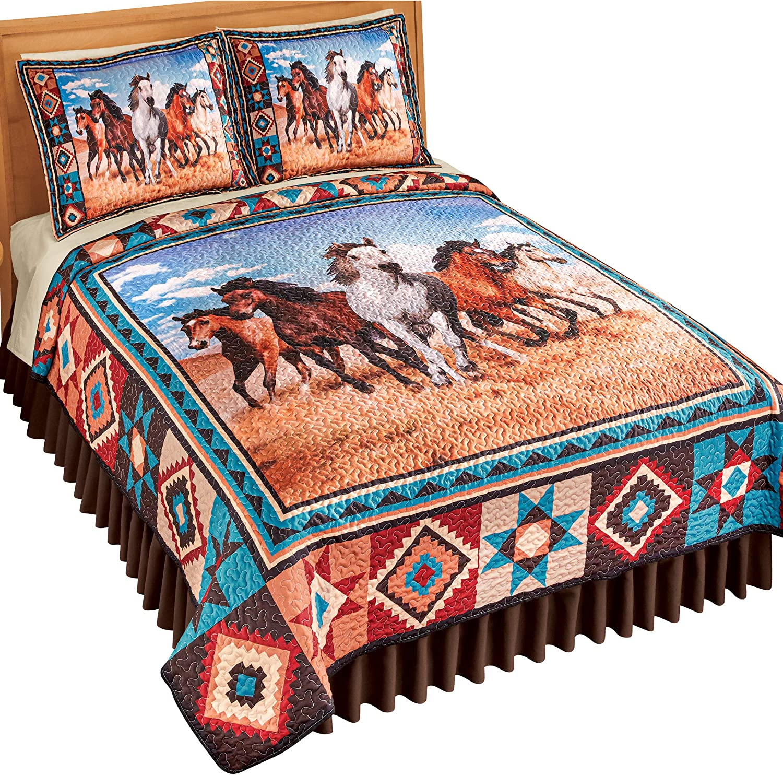 Southwest Running マート Horses Quilt お得なキャンペーンを実施中 - Cover Bedding Beautiful Home