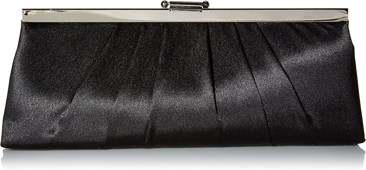 Jessica McClintock Blaire Women's Satin Frame Evening Clutch Bag Purse with Shoulder Chain Included