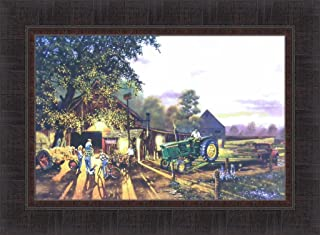 Home Cabin Décor Once in A Lifetime by Dave Barnhouse 17x23 John Deere Tractor Farm Barn Country Americana Framed Art Print Picture