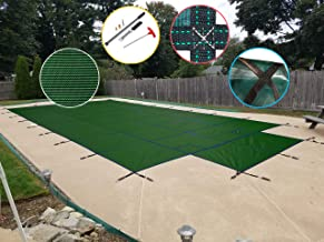 WaterWarden SCMG1632CS Safety Pool Cover for 16' x 32' In Ground Pool, Green Mesh with Center Step