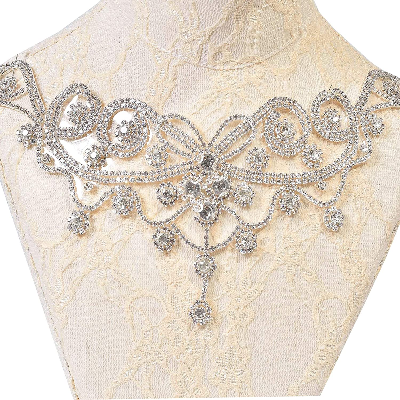 Sparkling Rhinestone Applique Drop Charm Crystal Sweet Heart Appliques for Wedding Dresses Bridal Belt Decor