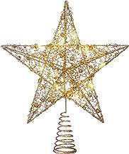 WeRChristmas Pre-lit Sprinky Christmas Tree Top Star LED Lights, Gold, 31cm