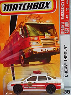 Matchbox Emergency Response Series #58 Fire Rescue Cheif Car Red 'n White Black Wheel Detailed Diecast Scale 1/64 Collector