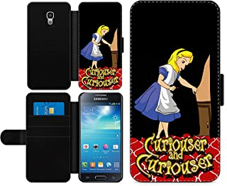 c riveras Alice in Wonderland Inspired Phone case Curiouser and Curiouser Fan Art Faux Leather flip Wallet Mobile Cover for Samsung Galaxy S4
