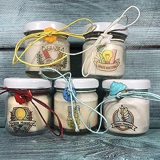 Grazie Maestra 5 mini candele profumi misti in vasetto con tappo personalizzato Piccolo omaggio per la Maestra in cera di ...