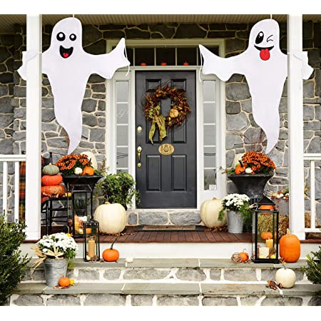 3 Colors Design 3 Pack Halloween Hanging Ghost Prop Scary Decor Halloween Ghost Decorations for Halloween Christmas Holiday Indoor Outdoor Bar Party Decoration