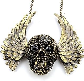 Fashion Jewelry punk biker vintage bronze vampire wing pendant crystal rhinestone necklace